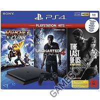 PlayStation 4 Slim Konsole (schwarz) 1TB Playstation Hits Bundle (PS4)