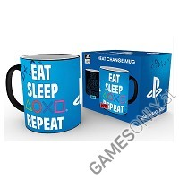Sony PlayStation Tasse mit Thermoeffekt Eat Sleep Repeat (Merchandise)